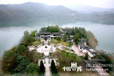 陕西安康市瀛湖-----鸟瞰金螺岛风景区